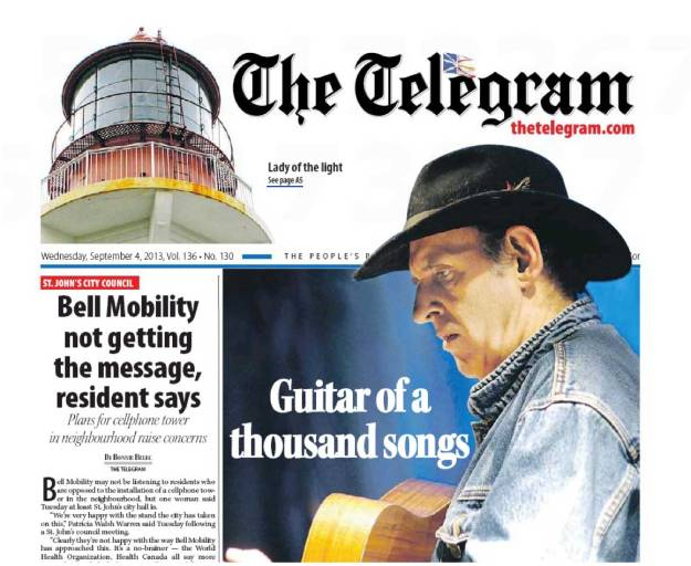 Ron Hynes - St. John's Telegram - September 5th
